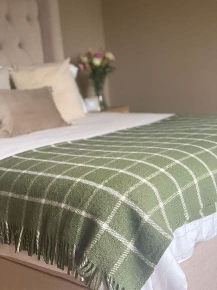 Chequered Check Olive Throw