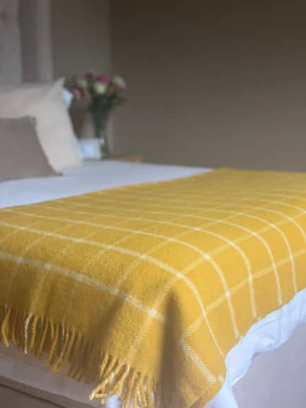 Chequered Check Throw In Mustard