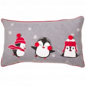 Trio Festive Penguins Cushion