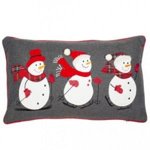 Trio Festive Snowmen Cushion
