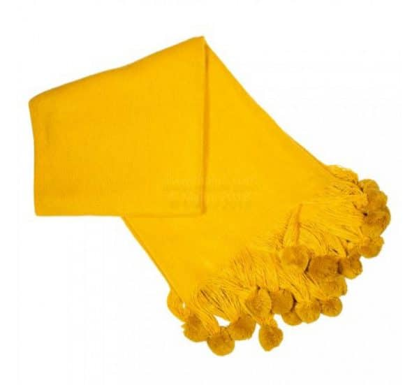 Vienna Ombre Pom Pom Throw in Mustard