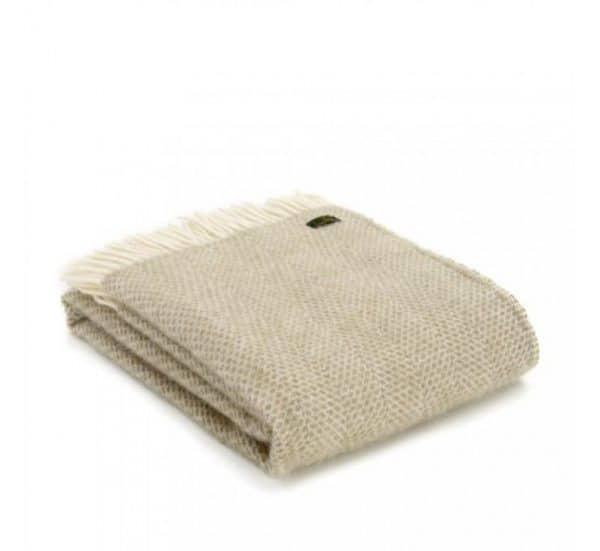 Wool Beehive Throw in Oatmeal