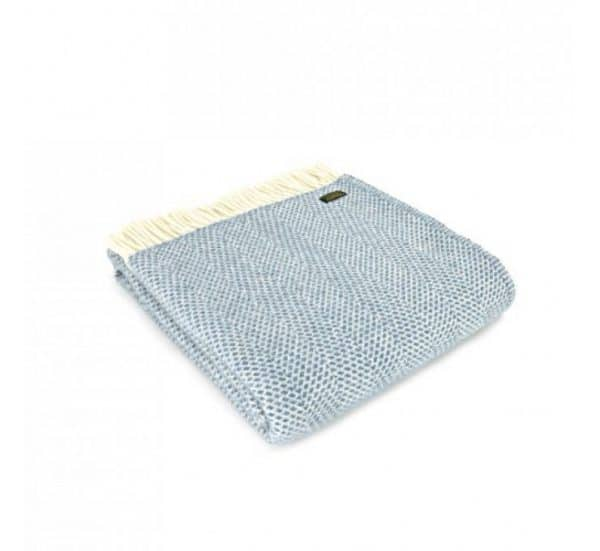 Wool Beehive Throw in Petrol Blue