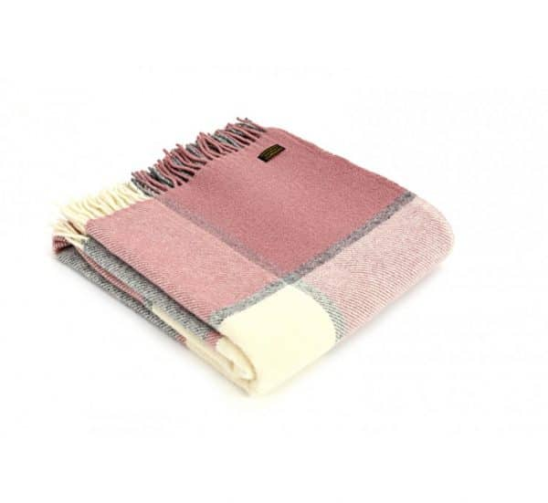 Wool Block Check Dusky Pink Throw