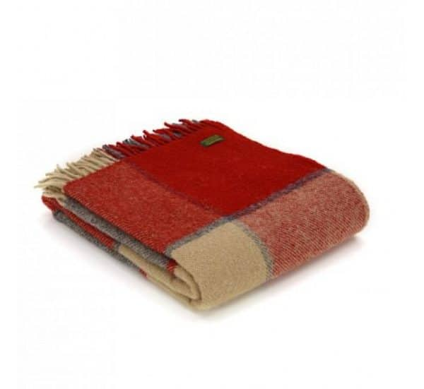 Wool Block Check Red and Slate Throw