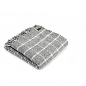 Wool Throw Chequered Check Throw in Grey