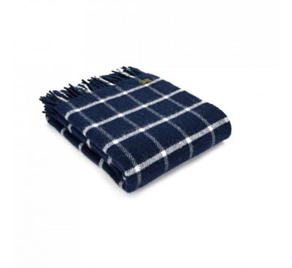 Wool Throw Chequered Check Throw in Navy