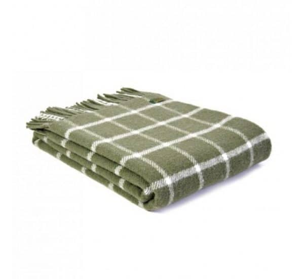 Wool Throw Chequered Check Throw in Olive