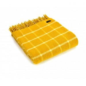Wool Throw Chequered Check Throw in Yellow