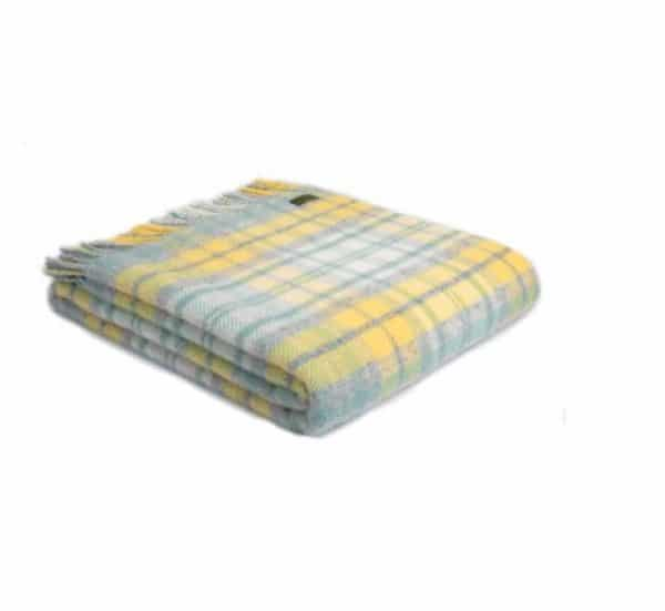 Cottage Style Throw in Grey, Yellow and Ocean Blue