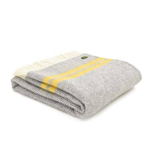 Throw Fishbone 2 Stripe Grey & Yellow