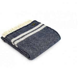 Wool Fishbone 2 Stripe Throw in Navy with Grey Stripes