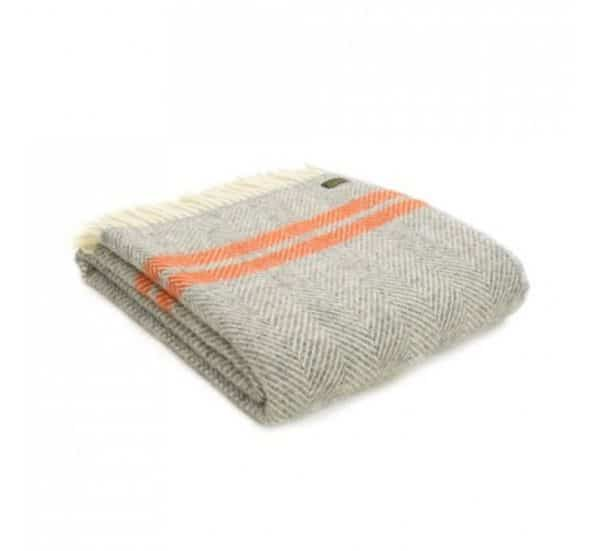 Wool Fishbone 2 Stripe Throw in Grey and Pumpkin Stripes