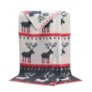 Deer Themed Throw in Red and Cream