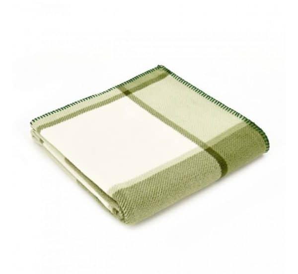 Block Check Printed Fleece in Cream and Green