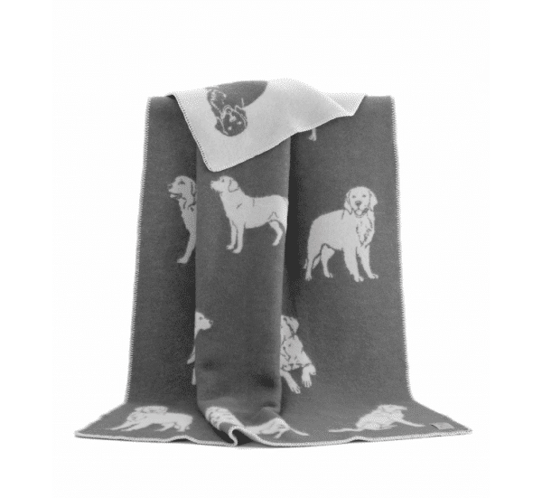 Dog Themed Reversible Throw in Grey