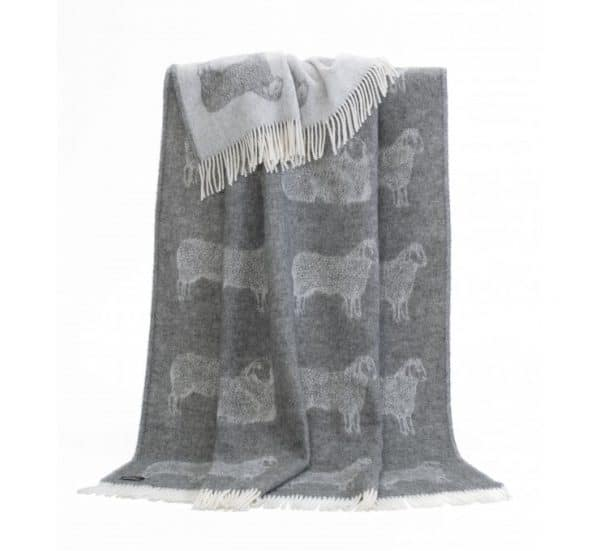 Sheep Themed Reversible Throw in Soft Grey and Cream