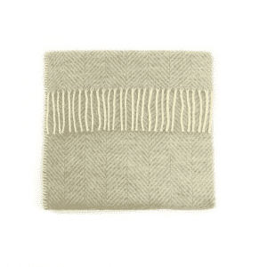 Wool Fishbone Pram Blanket in Grey