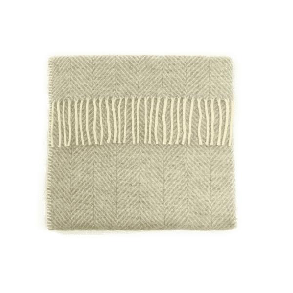 Wool Fishbone Pram Blanket in Grey