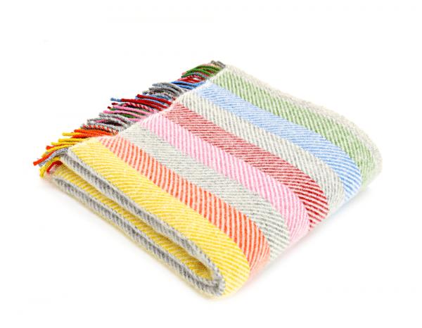 Pure New Wool Rainbow Stripe Throw