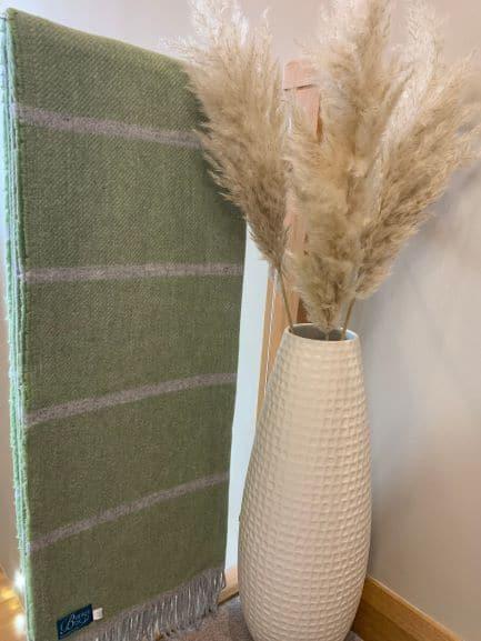 Green Broad Stripe Throw