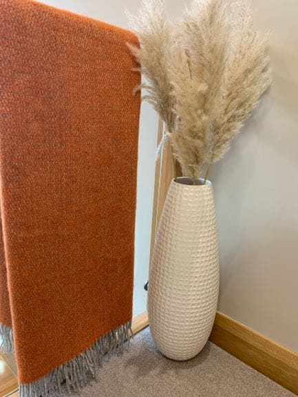 Illusion Throw in Pumpkin and Grey