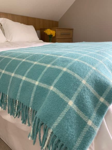 Pure New Wool Chequered Check Throw In Spearmint Blue