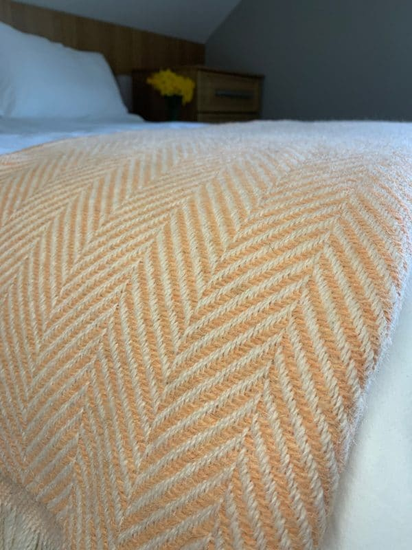 Large Recycled Tibet Apricot Chevron Wool Throws