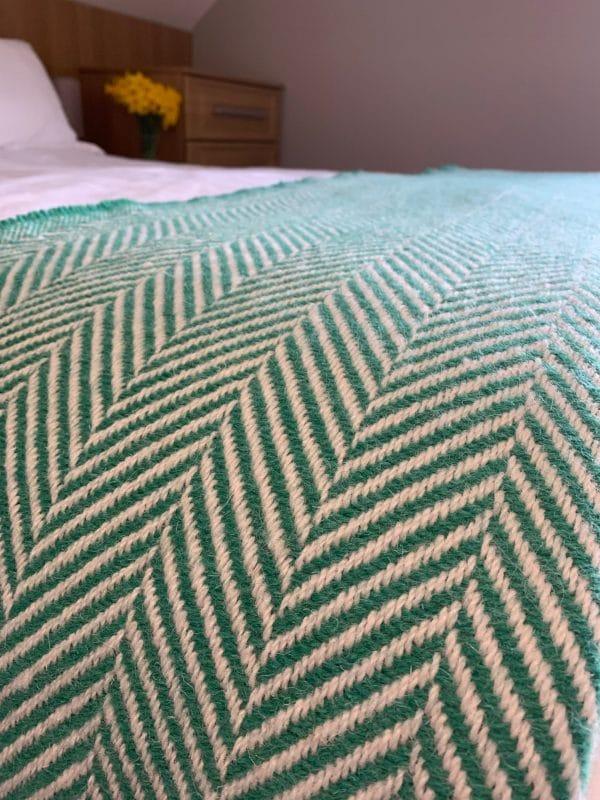 Large Recycled Tibet Green Chevron Wool Throws