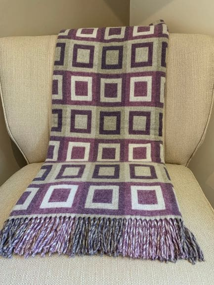 Double square lilac Throw