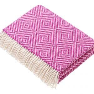 Bright Diamond Fuschia Lambswool Blanket & Throw by Bronte