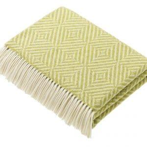 Bright Diamond Lime Lambswool Blanket