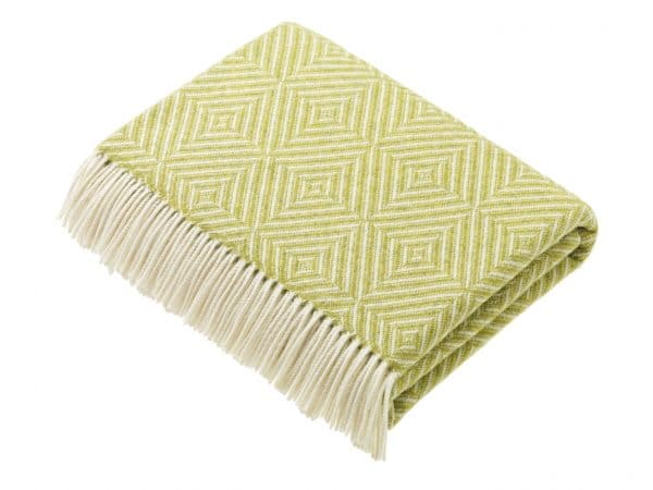 Bright Diamond Lime Lambswool Throw by Bronte