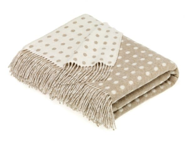Merino Lambswool Natural Spot Throw by Bronte
